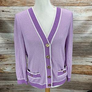 St. John Collection Knit Cardigan Wool Bld Purple